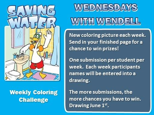 Saving Water with Wendell Coloring Challenge. Print, color and email colored pages for a chance to w